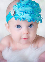 1pcs Baby Hair Band Feather Flower Hair Bow Head