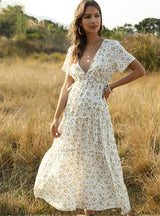 Boho Long Dress Ruffle Short-Sleeve V-neck Dress