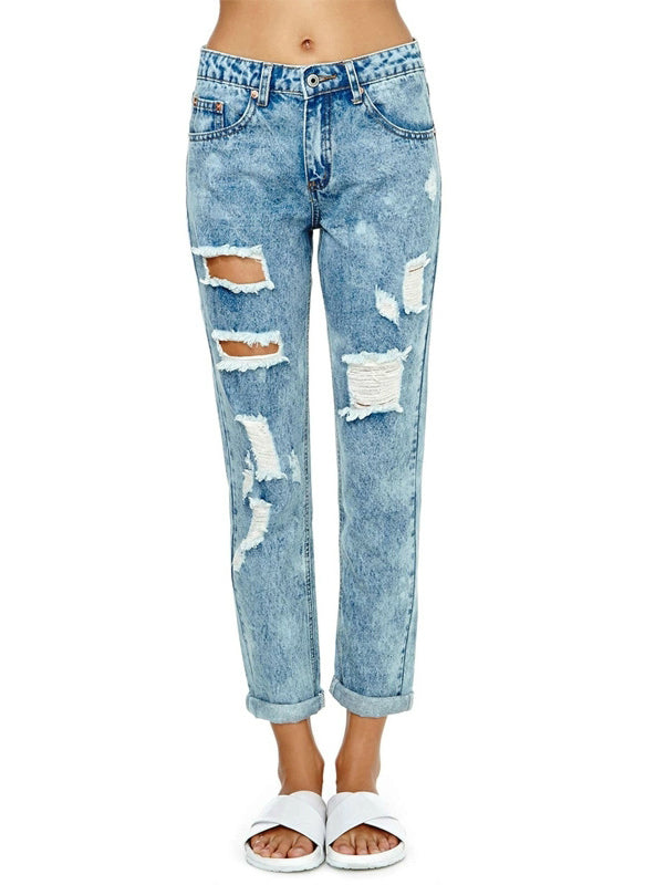 Women Cut Out Ripped Skinny Washed Bottoms