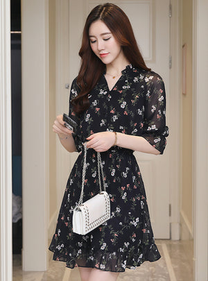 Vintage Chiffon Floral Boho Shirt Dress 2020