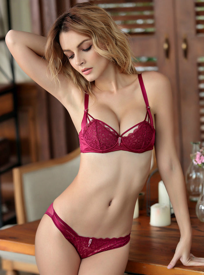 6f7f59030cd Transparent Lace Lingerie Hollow Half Cup Bra Set – Lilacoo