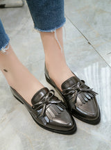 Tassel Bow Pointed Toe Black Oxford Shoes