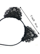 1 Pc Black Lace Cat Ears Headband For Women Girls