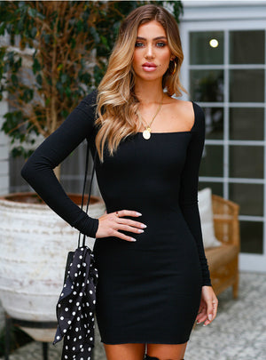 Woman Long Sleeve Slim Sexy Hip Dress