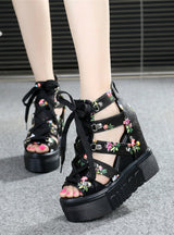 Wedges Open Toe Platform Sandals Lace Up Shoes