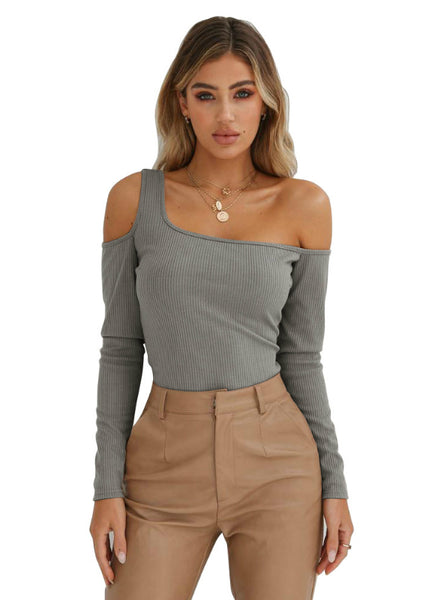 One Open Shoulders Sided Long Sleeve Slim Top