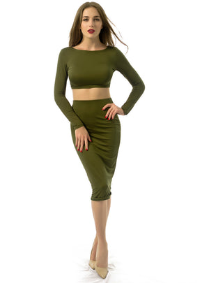 Long Sleeve Open Back Slim Fit Two-Piece Dress