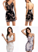 Strap Backless Mini Dress Women V neck Sequin