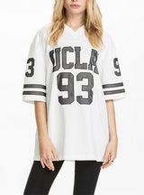 V-Neck Letter Print Tees Loose Women T-shirt