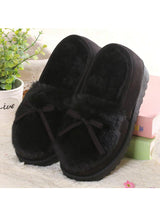 Ballet Flats Lovely Bow Warm Fur Cotton Shoes