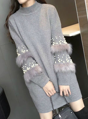 Knitted Dress Loose Pink Long Sleeve Women Sweater