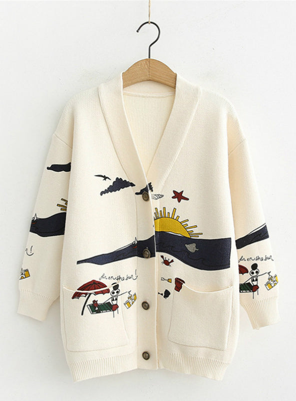 Women's Winter Cardigan Sweater Loose Cute Print