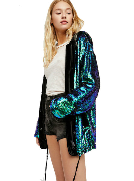 Sequin Lace Up Women Jacket Zipper Hooded Female