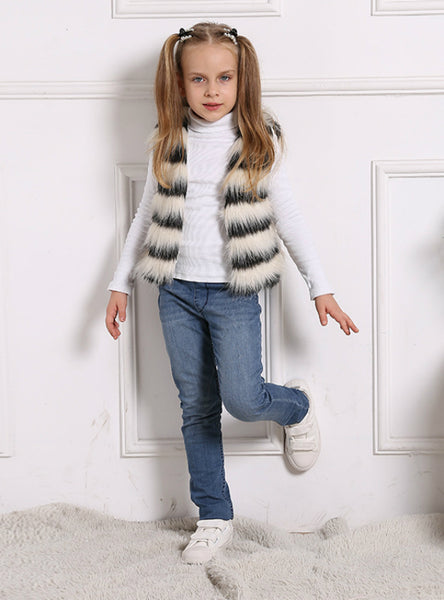 Girl Winter Fur Vest Colorful Coat