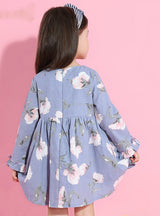 Printing Princess Dress Long Sleeve Flowers