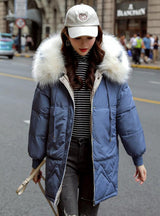 Womens Winter Jackets Casual Fur Collar Hooded Jacket