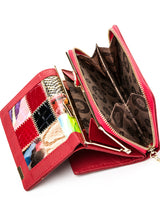 Genuine Leather Patchwork Wallet Women Small Purse