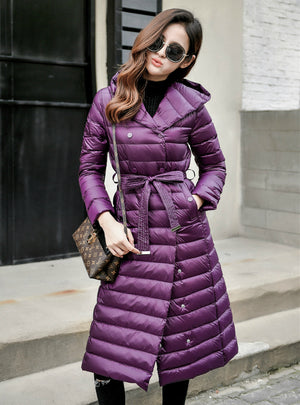 Down Jacket Female Vintage A line Overcoat Ultralight