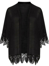Women Colthing Solid Black Casual Lace Coat Big Large Size