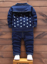 3pcs Cotton Letter Stars Jacket+T-Shirt+Jeans
