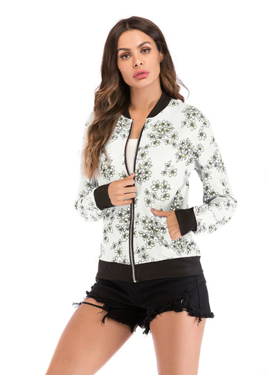 Women Printed Baseball Winter Short Zipper Coat