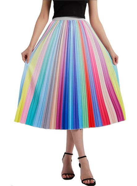 Rainbow Stripe Pleats Print Skirts