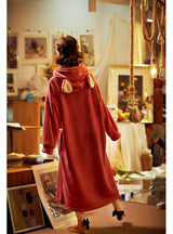 Thickened Lengthened Warm Coral Fleece Pajamas Red Dress