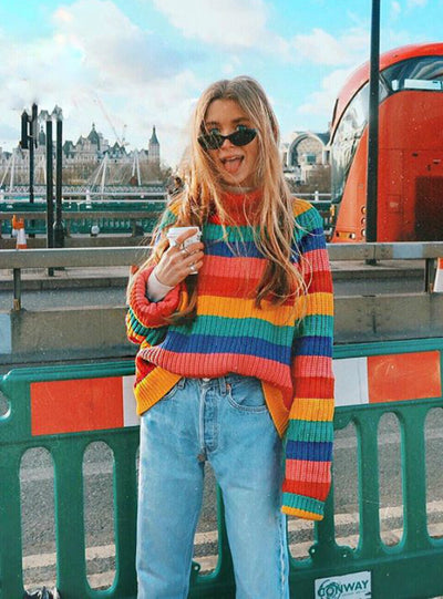 Simenual Rainbow Turtleneck Sweaters Women