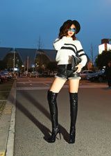 Women Boots Patent Leather Over the Knee Boots