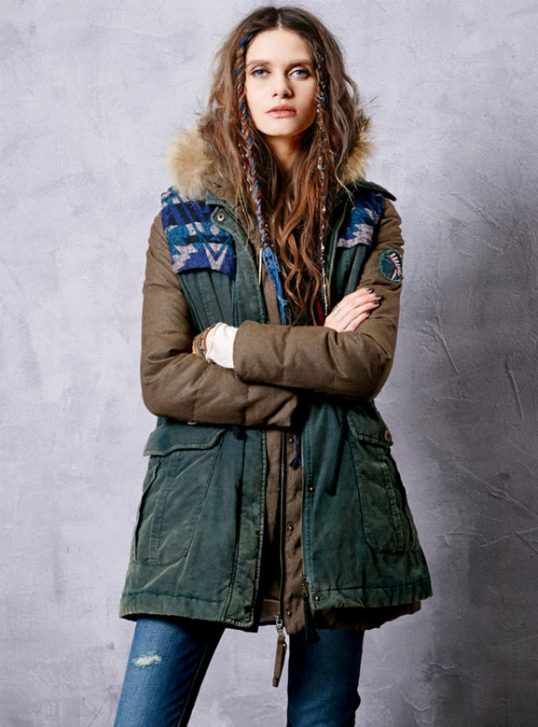 Two-Piece Jacket Drawstring Waist Down Coat