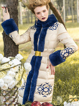 Brand Down Coat Royal Cat Jackets Real Rabbit Fur