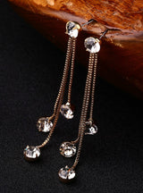 Rhinestone Earrings Brief Personality Tassel