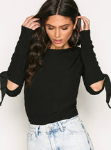 T-Shirt O-Neck Long Sleeve Hollow Out Split Lace Up