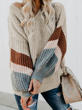 Women V Neck Striped Sleeve Loose Pullover Fall Sweaters