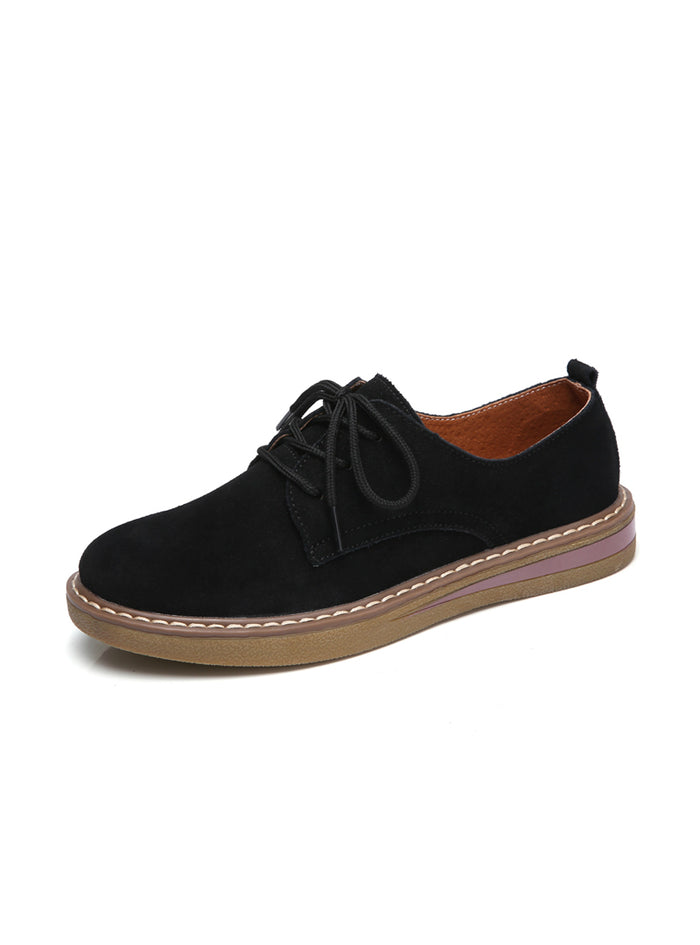 Sneakers Oxford Flats Shoes Leather Suede Lace Up