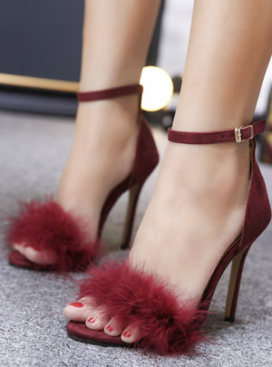 High-Heeled Sandals Fur Fashion Stiletto Heels