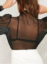 Lace Sheer Sexy Lady Shirts Bowknot Front Loose