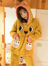 Yellow Bear Coral Velvet Pajamas Female Winter