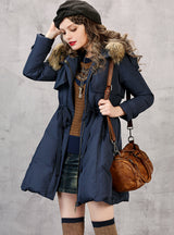 Duck Down Coat Hooded Parka With Raccoon Fur