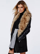 Black Faux Fur Coat Women Patchwork PU Leather