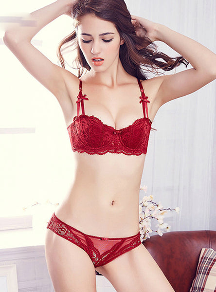 Underwear Thin Cotton Red Lace Bras And Panties