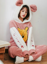 Pink Winnie the Pooh Thickened Flannel Suit
