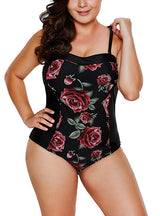 Rose Print One Piece Swimsuit Women Floral