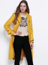 Trench Coat Classic Tie Front Long Sleeve Blazer