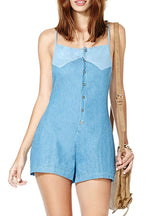Single Breasted Playsuits Women Pockets Slim Rompers