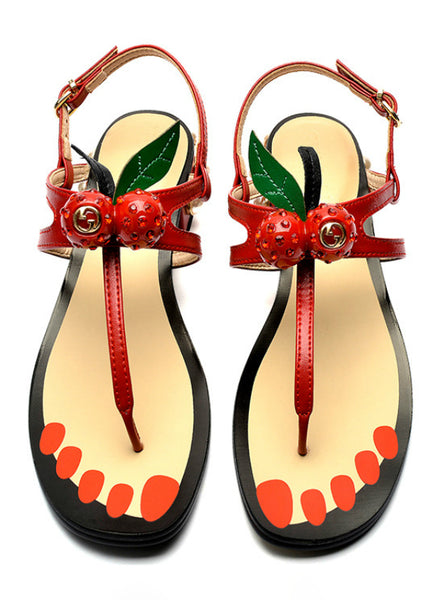 Sandals Flip Flop Cherry 2018 Peal Heel Woman Summer