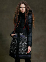 Winter Jacket With Hood Black Long Parka Print