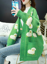 Female Cardigan Loose Streetwear Knit Sweater Coat