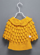 Batwing Sleeve Pineapple Knitting Wool Sweater Coat