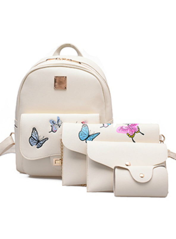 Embroidery Butterfly Backpack Women 4 Pcs/Set